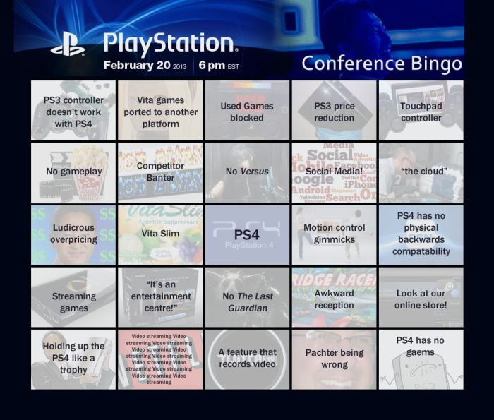PlayStation Conference Bingo